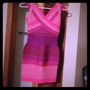 "Bebe "" hot"" pink bandage dress"